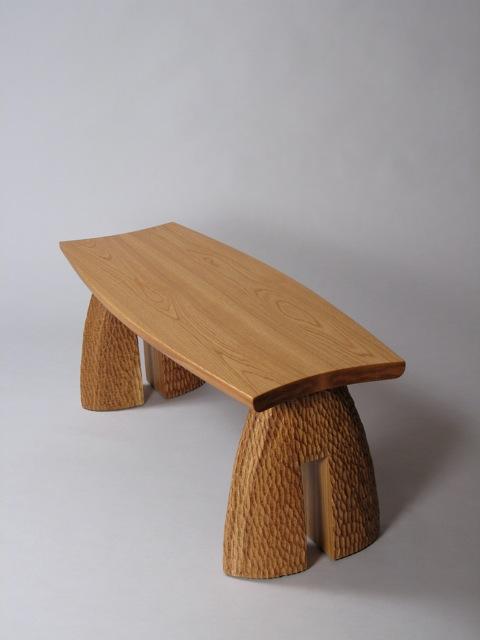 outdoor bench, custom, contemporary, design, carved, white oak, David Hurwitz, handmade, handcrafted, fine furniture, wood, fine woodworking, Vermont, penofin verde, montshire museum of science