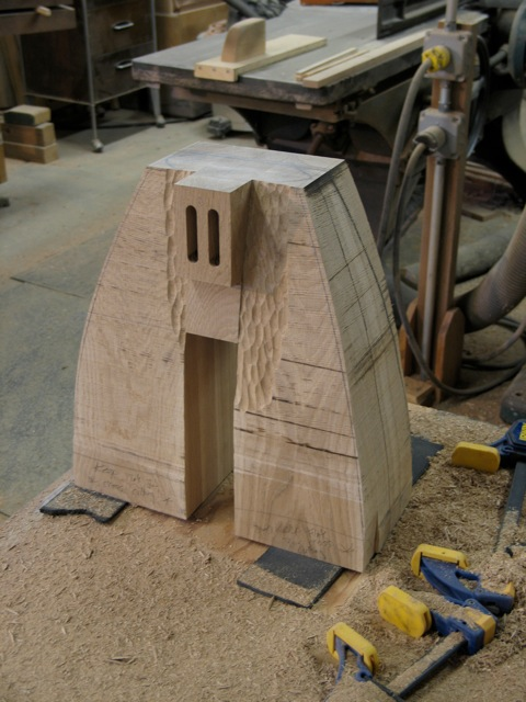 carved, contemporary, white oak, outdoor bench, carving process, furniture maker David Hurwitz, Vermont