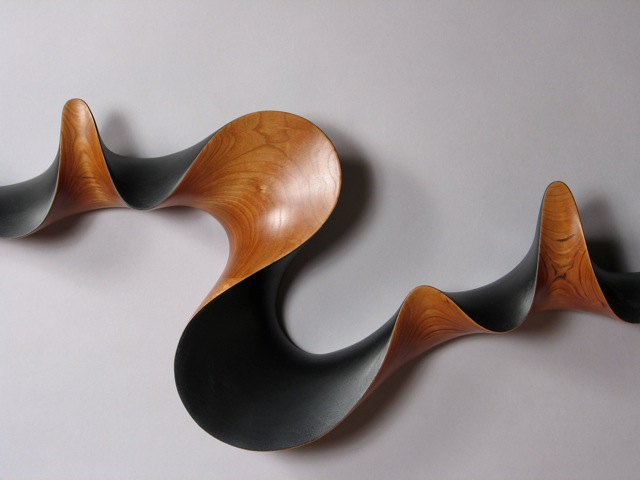 custom contemporary carved and painted handcrafted cherry coat rack, David Hurwitz, Vermont furniture