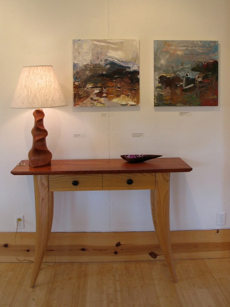 Cherry and Ash Console Table, David Hurwitz, handcrafted, custom, contemporary, furniture, Vermont, Renee Bouchard, Towle Hill Studio