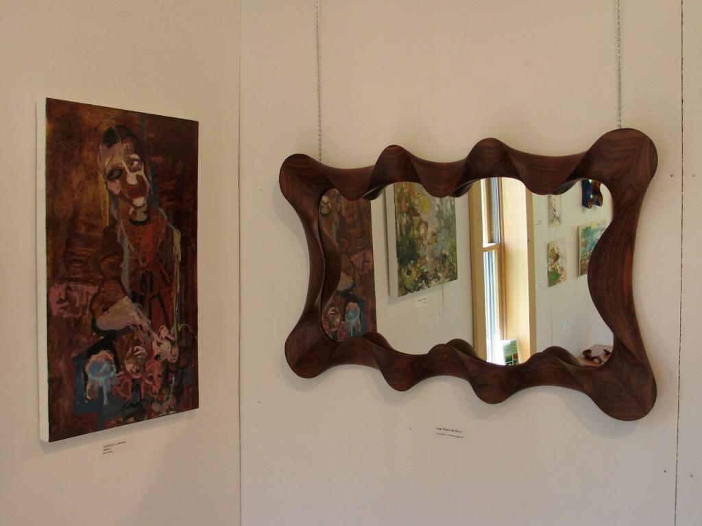 Large Walnut Taffy Mirror, carved, walnut, contemporary, custom, handmade, furniture, David Hurwitz, Vermont, Renee Bouchard