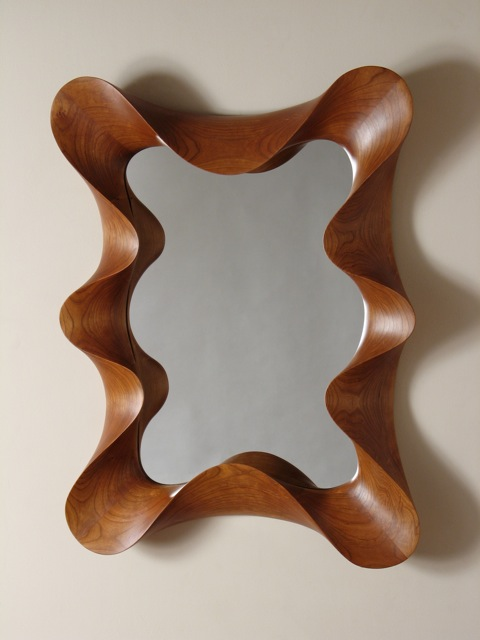 Large Cherry Taffy Mirror, taffy framed mirror, wall mirror, custom, contemporary, carved, unique, one of a kind, design, sculptural, cherry, FSC cherry, handmade, handcrafted, David Hurwitz, Vermont furniture, fine furnishings, made in Vermont, made in USAs