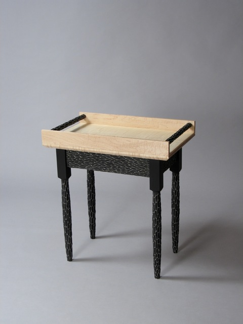 custom handmade end table, custom serving tray, Funky Shaker End Table, contemporary, transitional, fine furniture, handcrafted, design, black and white, carved texture, curly maple, Vermont sugar maple, hand painted, David Hurwitz, furniture designer, maker, made in Vermont, made in USA