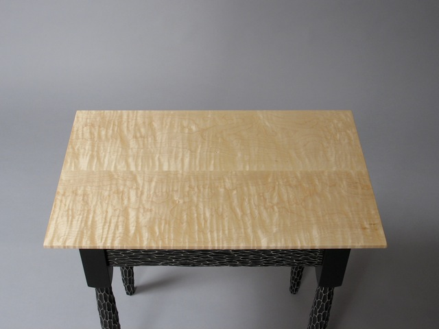custom handmade shaker end table, Funky Shaker End Table, contemporary, transitional, fine furniture, handcrafted, design,  custom made furniture, black and white, carved texture, curly maple, Vermont sugar maple, hand painted, David Hurwitz, furniture designer, maker, made in Vermont, made in USA