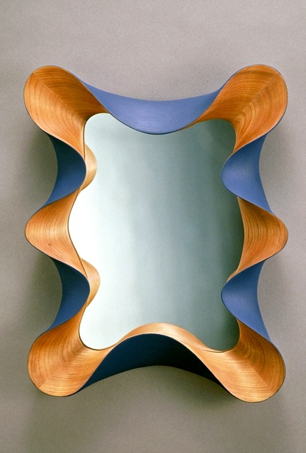 contemporary mirror, custom wall mirror, contemporary wall mirror, Taffy Mirror, contemporary design, modern design, taffy framed mirror, wall mirror, custom, carved, unique, one of a kind, design, sculptural, cherry, handmade, handcrafted, FSC, green design, designer, David Hurwitz, Vermont furniture, fine furnishings, made in Vermont, made in USA