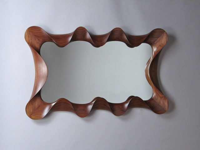 Contemporary mirror, wall mirrors, Large Walnut Taffy Mirror, taffy framed mirror, wall mirror, custom wall mirror, contemporary, carved, unique, one of a kind, design, sculptural, walnut, handmade, handcrafted, David Hurwitz, Vermont furniture, fine furnishings, made in Vermont, made in USA