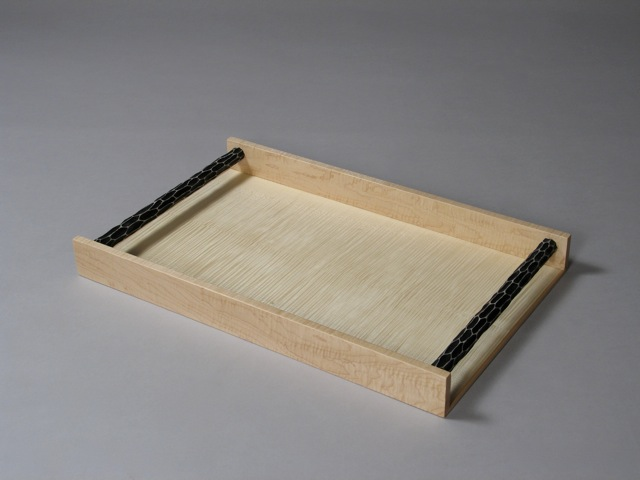 custom serving tray, carved and painted, curly Vermont maple, contemporary, transitional, fine furniture, handcrafted, design, fine furnishings, black and white, carved texture, curly maple, Vermont sugar maple, hand painted, David Hurwitz, furniture designer, maker, made in Vermont, made in USA
