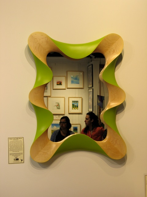 Custom contemporary wall mirror in carved, painted FSC maple | David ...
