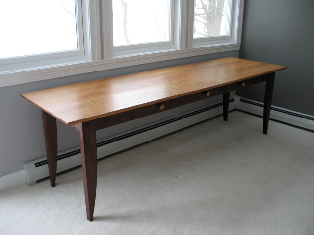 Custom Writing Desk With Drawers In Walnut And Cherry David - 8 foot office table