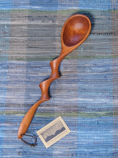 carved cherry spoons, carved wood spoons, Award winning spoons, handmade spoon, hand carved spoons, made in Vermont wooden spoons, unique spoons, one of a kind spoons, twist handle spoon, contemporary, green design, utensils, woodenware, kitchenware, Vermont woodworking, David Hurwitz Originals, cooking, serving, sculptural, funky spoons, carved utensils, sustainable, FSC, handmade, hand carved, made in USA, made in Vermont, original spoons