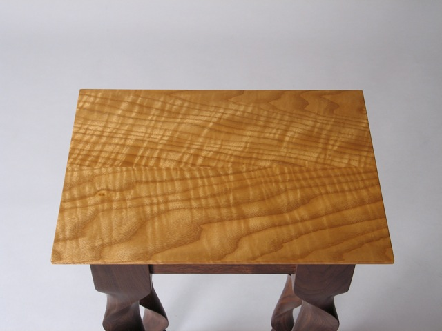 Custom Contemporary Walnut Taffy End Table By David
