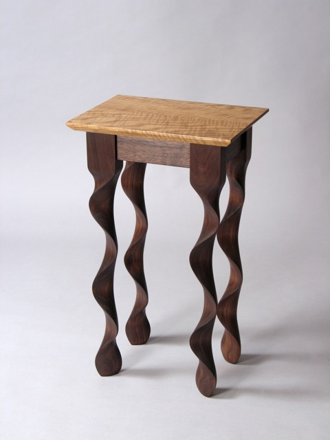 Custom contemporary walnut taffy end table by david for Unique end tables