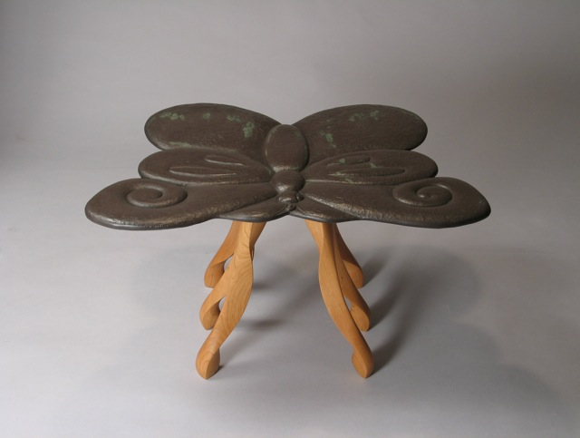 one of a kind furniture, art furniture, end table, green design, design, stone and wood furniture, custom furniture, custom made, contemporary furniture, Vermont made furniture, craftsman furniture, handmade wooden furniture, artisan furniture, art furniture, studio furniture, stone furniture, VT wood furniture, sustainable furnishings, solid wood furniture, wooden furniture, stone carving, wood furniture, eco furniture,  end table, modern end table,  whimsical furniture, cherry, Vermont slate, carved slate, carved stone, carved wood, carving, Kerry O. Furlani, David Hurwitz, FSC, made in Vermont, made in USA, American made