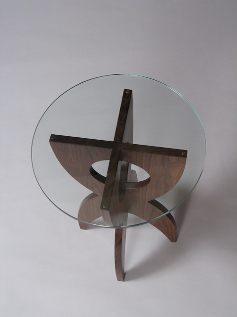contemporary end table, custom end table, modern end table, vermont made furniture, handmade wooden furniture, end table, side table, occasional table, modern table, retro table, mid-century table, contemporary table design, glass table top, round glass top, walnut, handmade, hand crafted, custom, fine furniture, custom made, custom furniture, wooden furniture, VT wood furniture, solid wood furniture, wood furniture, craftsman, living room furniture, furnishings, design, designer, funky, made in Vermont, made in USA, American made