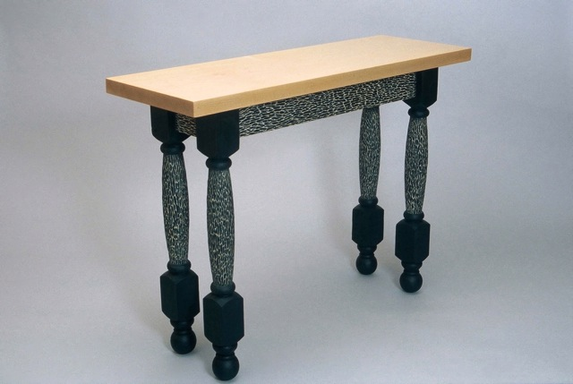 Funky Hall Tables transitional hall table with hand carved and painted texture