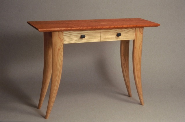 custom contemporary handcrafted cherry and ash console table with drawers, David Hurwitz, Vermont furniture, custom made furniture