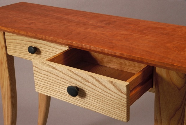 Vermont made furniture, one of a kind handmade console table with drawers, cherry, ash, fine furniture, custom made furniture