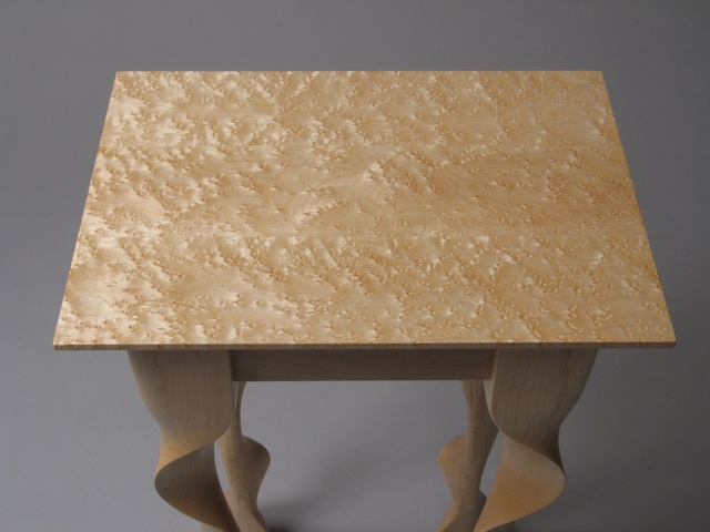 birdseye maple, modern end table, contemporary end table, maple end table, Vermont made, handmade furniture, fine furniture, green design, sustainable design, made in USA, made in Vermont,