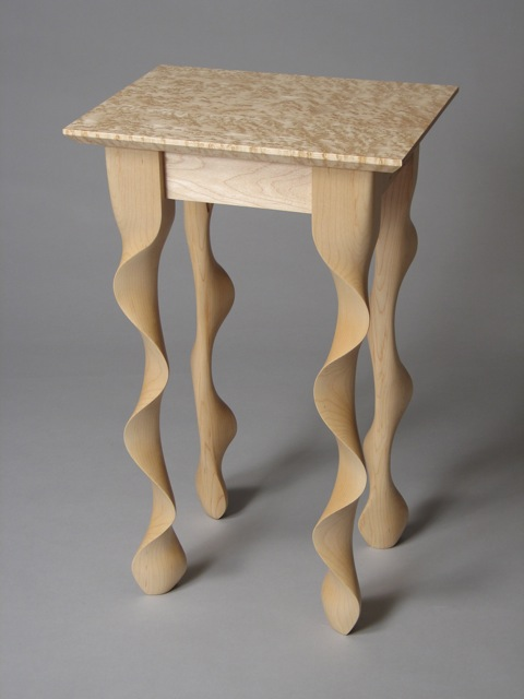 maple end table, contemporary end table, modern end tables, funky tables, mid-century tables, green design, sustainable design, Vermont sugar maple, birdseye maple, FSC, handmade furniture, handcrafted furniture, made in Vermont, handmade in Vermont, custom furniture, fine furniture, night stand, bedside tables, one of a kind furniture, artisan furniture, handcrafted in Vermont, made in USA, American made, Furchgott Sourdiffe Gallery