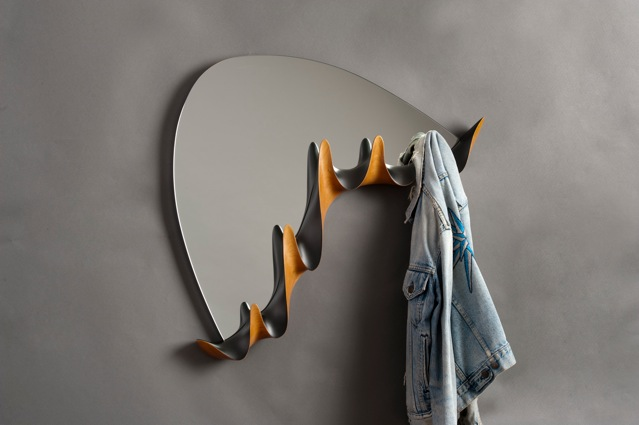 custom coat rack, custom wall mirror, custom, contemporary, contemporary wall mirror, mid-century modern wall mirror, carved and painted, handcrafted, cherry, coat rack, David Hurwitz, Vermont furniture, custom made furniture, studio furniture