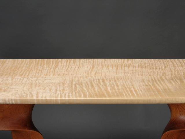 custom furniture, studio furniture, handmade furniture, contemporary furniture, curly maple, Vermont maple, sugar maple, designer-craftsman furniture, modern furniture, side table, hall table, carved wood, cherry, FSC, made in Vermont, American made, craftsman, artisan, hand crafted, Vermont made, hand carved