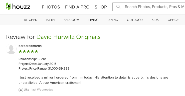 Reviews of David Hurwitz Originals, Randolph, Vermont - 5 Star review, a true American craftsman, unparalleled design, superb attention to detail, made in Vermont