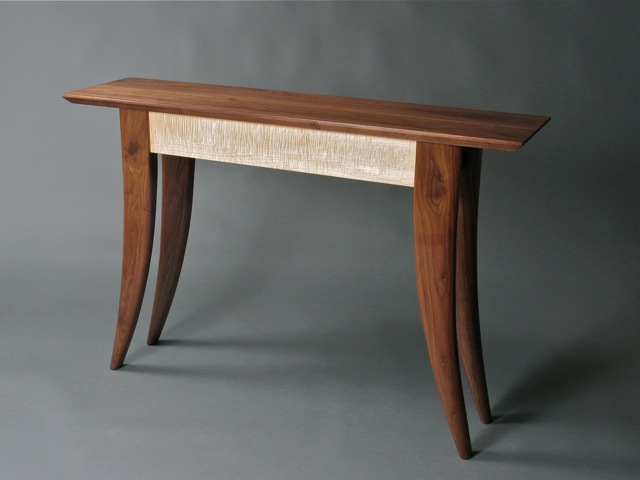Walnut and Curly Vermont Sugar Maple Hall Table, custom console table, modren hall table, modern console table, walnut console table, Vermont wood studio furniture, Vermont wood furniture, Vermont studio furniture, custom Vermont furniture, handmade furniture, handmade Vermont furniture, Vermont woodworking, Guild of Vermont Furniture Makers, custom Vermont furniture, custom modern furniture, custom contemporary furniture, made in Vermont, made in USA, David Hurwitz, Randolph, Vermont, made in Randolph Vermont,