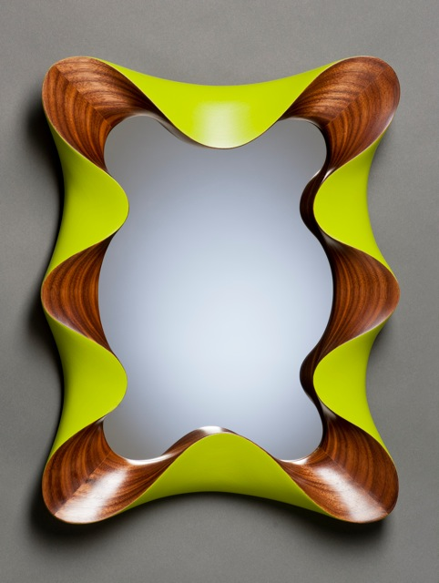 Fresh modern wall mirror in carved walnut and retro lime green | David  PB65