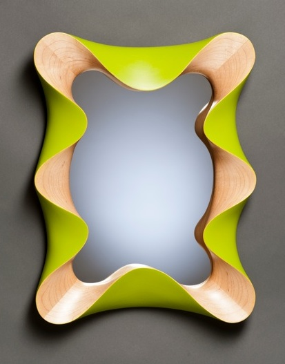 Fabulous custom contemporary wall mirror in carved maple and lime green  LA91